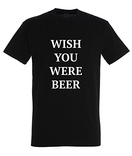Wish You Were Beer Funny Famous Quote Men Uomo Black T-shirt