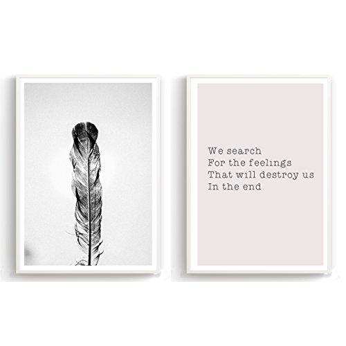 Made by Nami New – 2er Set Design-Poster 27x42cm A3 Motiv Skandinavisch schwarz weiß Kuntdruck Premiumpapier Deko Wohnung Geschenk -ohne Rahmen- Feder und Spruch