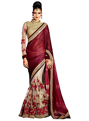 Vivera Women\'s lycra with net Saree (VRFLOWER_MAHROON1_Maroon)
