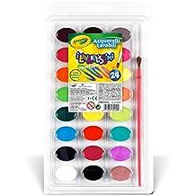 Crayola I Lavabilissimi Acquerelli Con Pennello, per Scuola e Tempo Libero, Colori Assortiti, 24 Pezzi, 53-0524