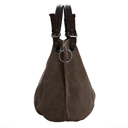 Lässige Canvas Tasche von Bag Street , Damentasche Shopper Umhängetasche Vintage Handtasche Schultertasche - Baumwollstoff Segelstoff Purple