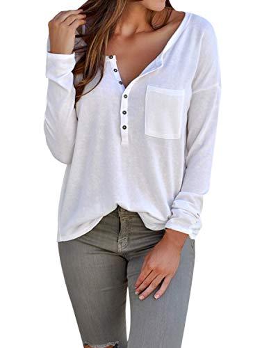 Femme Manches C Col Blouse Shirt Tunique Tops Xl Achioowa Sexy Lâche Blanc V Longues Haut J13uFTlKc