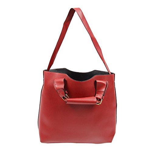 TOOGOO(R) Borsa del sacchetto di acquisto della borsa di Tote delle nuove borse dell'annata blu Vino rosso
