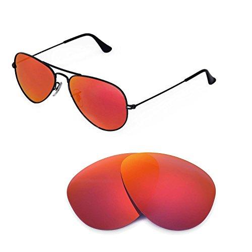Walleva Ersatzgläser für Ray-Ban RB3025 Aviator Large Metal 55mm Sonnenbrille - Mehrfache Optionen (Feuer Red Mirror Coated - Polarisiert)