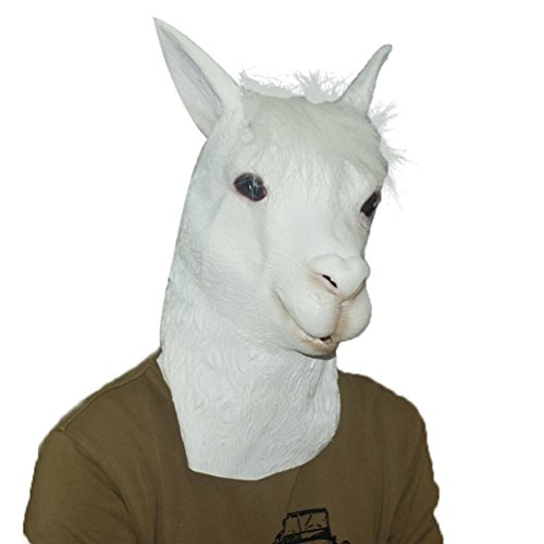 Jitong Latex Alpaka Kopf Maske für Halloween Karneval Fasching Kostüm Komisch Cosplay (Alpaka)