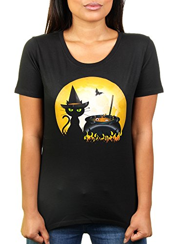 (Likoli Halloween Cooking - Damen T-Shirt von Kater, Gr. L, Deep Black)