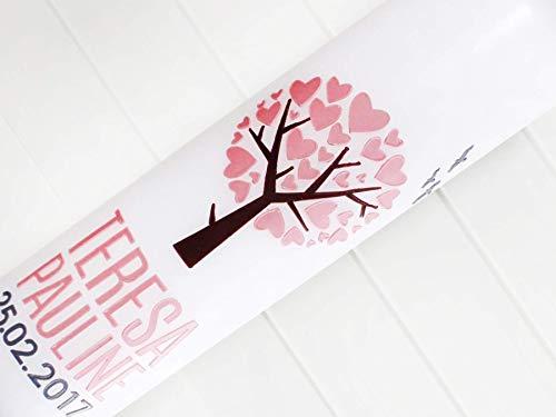 Taufkerze Mädchen, Taufe, Kommunionkerze, Lebensbaum, Herzbaum, Baum, Kerzen, Wachs, handgemacht, weiß, 275x70mm, made in germany