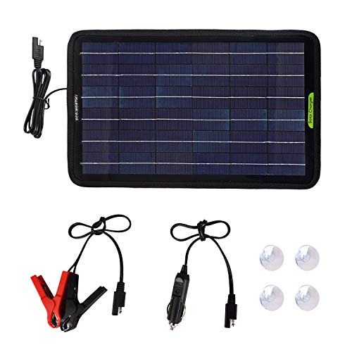 ECO-WORTHY Pannello solare portatile caricabatterie da 12 Volts 10 Watts con adattatore clip Alligator per Auto, Barca, Cam