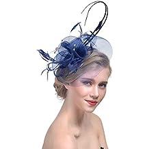 Donne Fascinator Cappello Matrimonio Sposa Cerimonia Partito Fiore Rete  Copricapo Fascia Accessorio per Capelli con Molletta 1f2eceba04f0