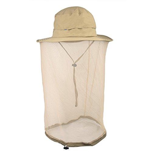 Echinodon Sonnenhut mit Moskito Insekt Schutz UPF35+ + Belüftungsnetz + Verstellbar Nylonband Kopf Netz Hut Kopfnetz Moskitonetz Buschhut Khaki