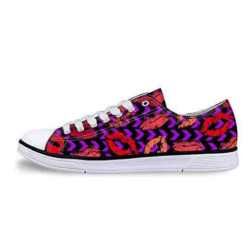 Lips Fashion Womens Girls Canvas Shoes Lace-up Low Top Casual Comfort Sneakers Purple HB0172AP 9