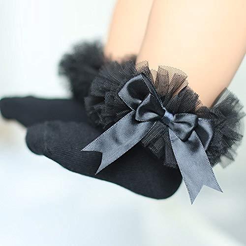 Baumwolle Schwarzer Spitze Bogen (FJTHY Herbst Und Winter Kinder Socken Geschenk Mesh Garn Spitze Socken Baumwolle Süße Bogen Prinzessin Socken,schwarz,Einheitsgröße)