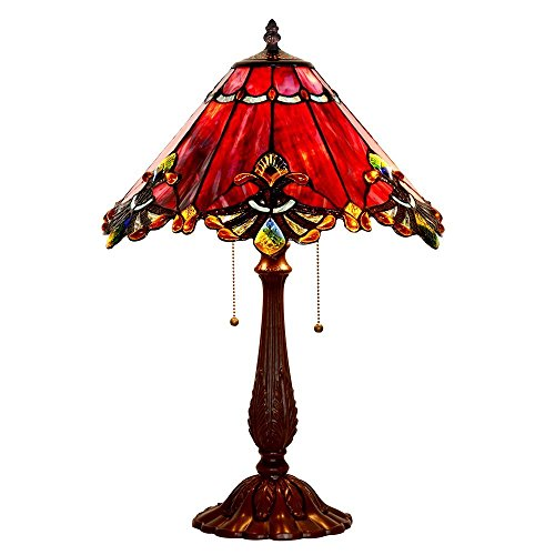 Bieye L30024US Tiffany-Stil Glasmalerei Barock Tischlampe mit 17 Zoll breiten Lampenschirm und Metallfuß, 26-Zoll groß, rot