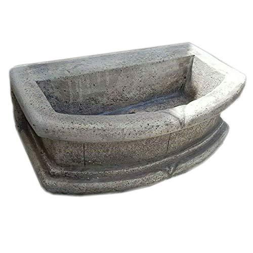 MONDO ARTISTICA Lavello lavabo lavandino vasca senza gocciolatoio in cemento e polvere di marmo per esterni da giardino Misura 70X42X24 grigio made in italy