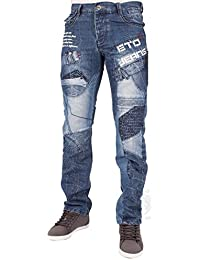 MENS NEW ETO EM450 STRAIGHT LEG BLUE JEANS LATEST FUNKY GRAPHIC DESIGN 28 TO 48