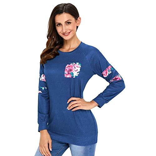 KAIDILA Floral Patch Akzent Sweatshirt Weihnachten Geschenke Herbst und Winter Runde Hals Lange Ärmel Komfort Pullover Sport Casual Sweatshirt -
