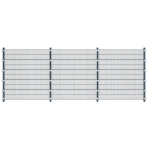 XuzhEU Anthrazit Grau 6m Zaun mit Pfosten 2m Hohen verzinkt Drahtgitter Zaun für Backyard Border Sichtschutz Zaunelemente (Meter Zaun Hohen 2)