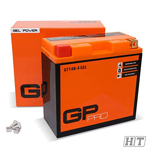 GP-PRO GT14B-BS 12V 12Ah Gel-Batterie (Ähnlich YT14B-4 / CT14B4) (Wartungsfrei/Versiegelt) Akkumulator Motorrad Motorradbatterie