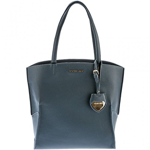 TWINSET Borsa shopping verticale in saffiano INDACO AA67P400384
