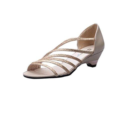 Aperte Ritagli Punta Donne Sandali Baraccopoli ® Di Estive Scarpe D'oro Delle Transer Modo Donna wgwY1H