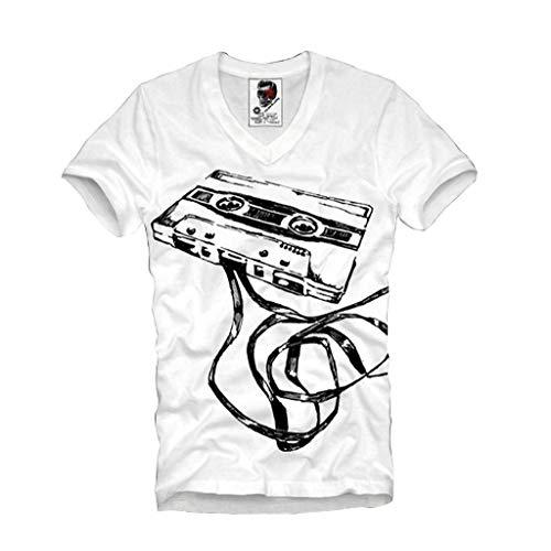 E1SYNDICATE V-NECK T-SHIRT DEMO TAPE COMPACT CASSETTE DJ MC VJ ANALOG AUDIO STEREO S-XL