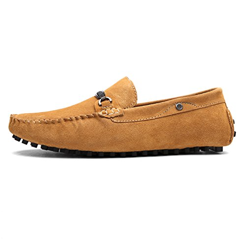 Baymate Homme Confort Loafers Antidérapant Chaussures Bateau Pour Conduite Brun