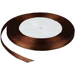 Carrete de cinta de satén vLoveLife, 22 m, 6mm, Rollo, tela, fiesta, hogar, decoración de boda, envoltura de regalo, embalaje, manualidades, suministro, material, hágalo usted mismo, raso, marrón, 6 mm
