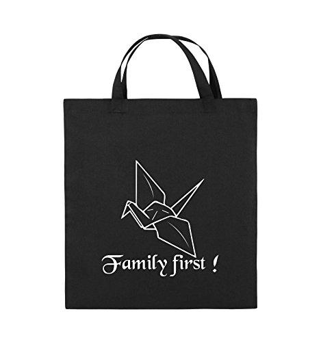 Comedy Bags - Family First Origani - PRISONBREAK - Jutebeutel - kurze Henkel - 38x42cm - Farbe: Schwarz / Silber Schwarz / Weiss