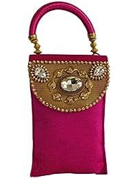 Adiari Fashion Pink Coloured Ethnic Design Mobile bag for Women