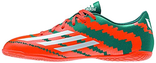 adidas Messi 10.4 Indoor Junior, Jungen Fußballschuhe, Mehrfarbig (Power Teal F14/FTWR White/Solar Orange), 36 EU