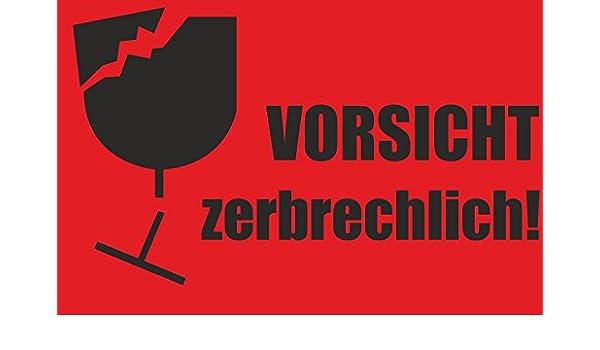 Indigos Ug Aufkleber Warnetikettenvorsicht Zerbrechlich Neon Rot 85 X 55 Mm 50 Stück