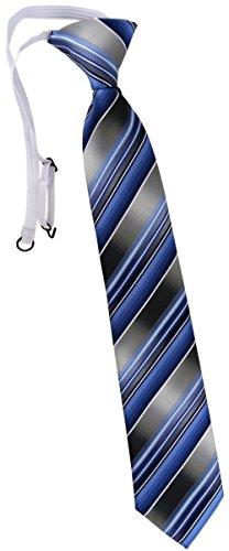 TigerTie Kinderkrawatte in blau hellblau silber anthrazit grau gestreift - Krawatte vorgebunden mit Gummizug