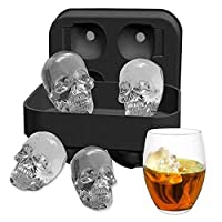 3D Skull Silicone Ice Cube Mold Tray, Vivid Skull Mould, Four Giant Cavities, Cube Maker in Shapes for Juice, Jelly, Chocolate, Whiskey Ice, Cocktails, Cola