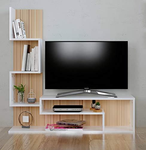 HOMIDEA Mimosa Ensemble de Meubles de Salon - Meuble TV avec étagères en Moderne Design (Sonoma - Blanc)