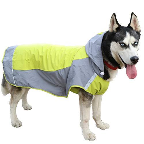 ubest Hunderegenmantel mit Kapuze, Reflektierende Regenjacke Hund, Atmungsaktive Wasserdichte Regenmantel für mittelgroße Hunde, Grün, XL