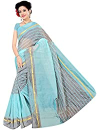 DIYA Fashion Women's Cotton Art Silk Saree With Blouse Piece(GREY SKYBLUE