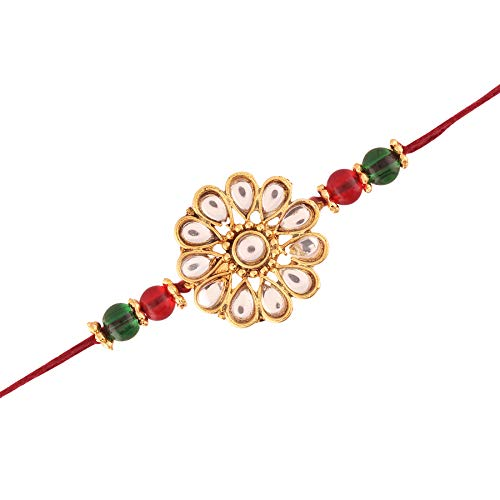 I Jewels Gold Plated Red and Green Kundan and Beads Rakhi for Beloved Brother