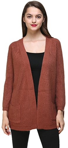 Vogueearth Fashion Warm Damen's Ladies Lang Hülse Pocket Knit Loose Sweater Sweatshirt Open Cardigan Strickjacke Bräunen (Strickjacke Pullover Braune)