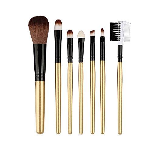Brush Set -7 Pcs Professional Cosmetic Brush Set Tools Toiletry Kit,Premium Synthetic Foundation Blending Brush Face Powder Blush Concealers Eye Shadows Make Up Brushes Kit ()