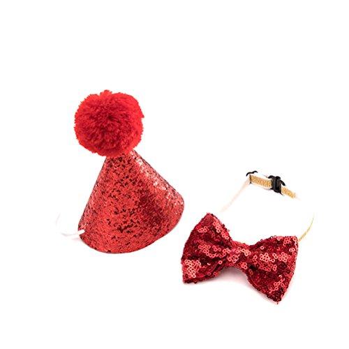Katze Geburtstag Party Hut mit Bowknot Cosplay Kostüm Zubehör Headwear (zufällige Farbe) (Niedliche Chihuahua-kostüme)