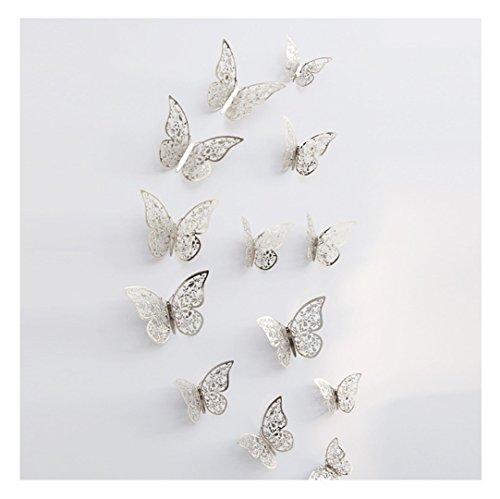 r 3D PVC Schmetterlings Hohle DIY Hauptdekor Plakat Kind Raum Wand Dekoration Partei Hochzeits Dekor Wandtattoo Kühlschrank Aufkleber (Silber) (Partei Dekorationen Für Den Ruhestand)