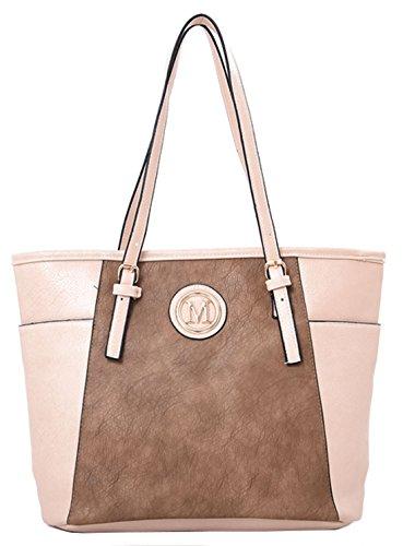 Su Malia Contrasto Pannello Design Tote Bag Con Sacchetto Raccoglipolvere Su Beige