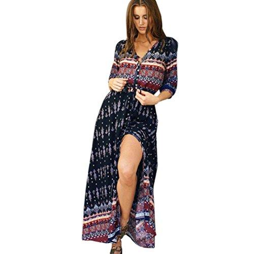 Longra Damen Bohemian Kleider Sommerkleider Lang Tunikakleid Damen Vintage Strandtunika 3/4-Arm Lange Maxikleider Beachwear Strandkleid im Ethno-Style Party Kleid (Brown, 2XL) (Bohemian Röcke Style)