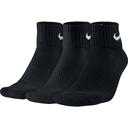 Nike 3PPK Cushion Quarter Calze, Nero/Blu, M