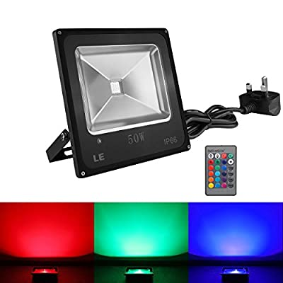 LE® Remote Control 50W RGB LED Flood Lights, Colour Changing LED Security Light, 16 Colours & 4 Modes, Waterproof LED Floodlight, UK 3-Plug, Wall Washer Light