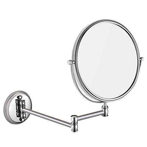 Miroirs de Salle de Bains télescopique Pliant Mural de de Salle de Bains 6/8 po (Couleur : Stainless Steel, Taille : Diameter 20cm)