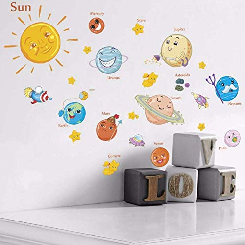er Cartoon Solar System DIY Vinyl Wandtattoos Kunstwand Für Kinderzimmer Schlafzimmer Dekoration ()