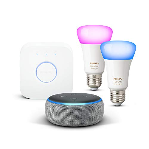 Echo Dot (3.ª generación), tela de color gris oscuro + Philips Hue White and Color Ambiance - Kit de 2 bombillas LED E27 y puente
