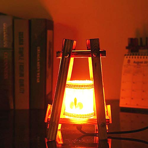 DECORATZ Retro Nostalgie handgefertigte Holz Tischlampe, LED kreative Vintage Bambus Weben Lampenschirm warmes Licht Nacht Schlafzimmer Nacht Dekoration Taste Schalter Leuchte-15W -
