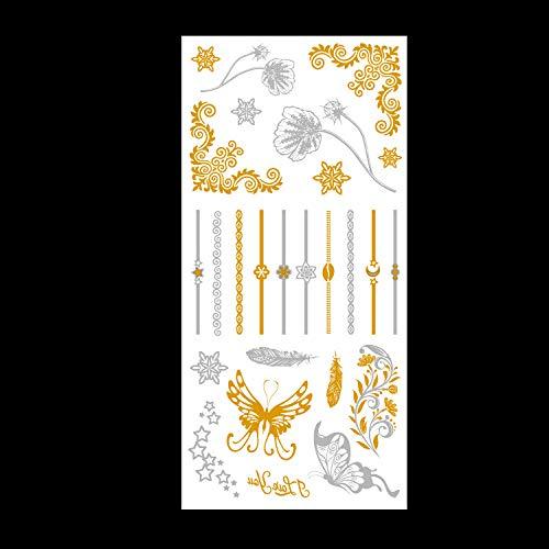 Heißprägetätowierungsaufkleber Heißsilberne Tätowierungsaufkleber exportiert nach Europa und in die USA Tätowierungsaufkleber 3Pcs-21 90 * 190MM - Supplies Art Nail Usa